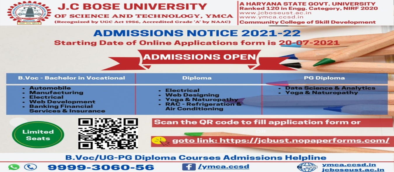 DIRECT ADMISSION IN DIPLOMA, B.Voc AND PG DIPLOMA COURSES